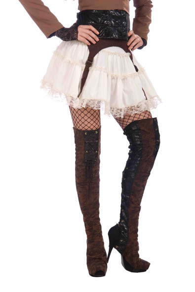 Women's Brown Steampunk Thigh High Boot Tops Cover Pirate Costume Accessory