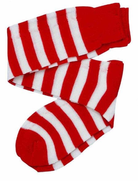 Red White Striped Knee High Socks Adult Elf Halloween Costume Acc. Wheres Waldo