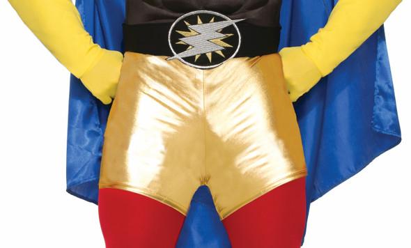 Super Hero Metallic Gold Mini Booty Shorts Adult Comic Books Costume Accessory