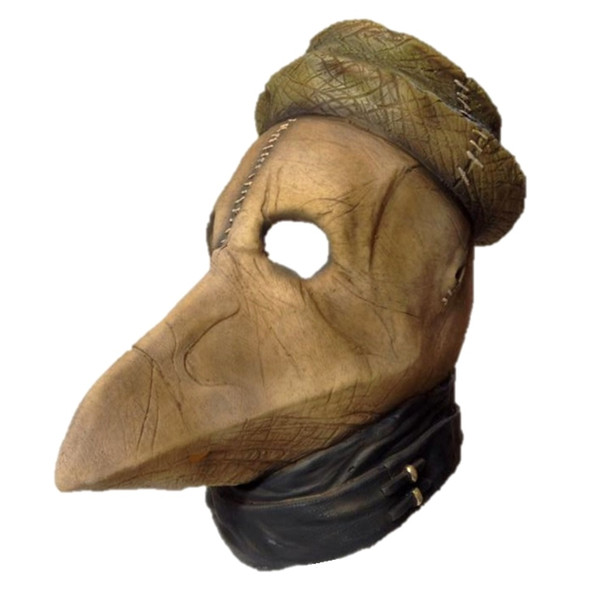 Deluxe Black Plague Death Doctor Peste Latex Mask Halloween Costume Accessory