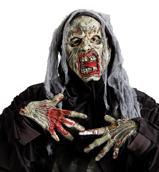 Bloody Dr. Zombie Latex Mask and Gloves Kit Halloween Adult Costume Accessory