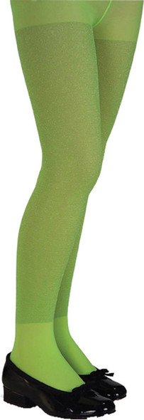 Girl's Glittery Lime Green Witch Tights Pantyhose Costume Accessory Hosiery LG