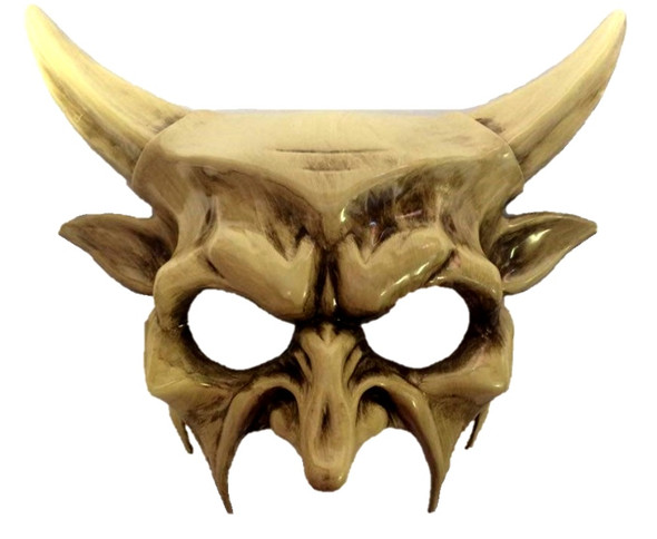 Horned Devil Party Half Mask Adult Mens Venetian Costume Accessory Ivory