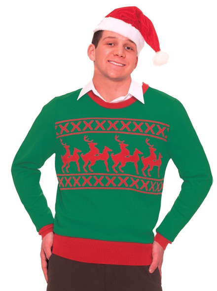 Naughty Reindeer Games Knitted Ugly Sweater Adult Christmas Tacky Gag Gift  Red