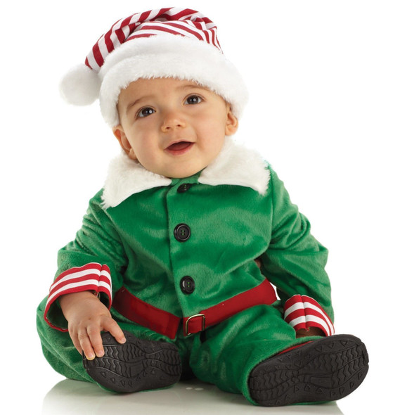 Underwraps Christmas Elf Boy Girl Costume Baby Toddler Child Jumpsuit Hat Xmas