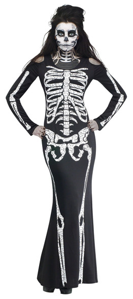 Black Sexy Skelelicious Halloween Costume Skeleton Bones Womens Long Fancy Dress