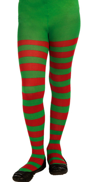 Green Red Child Striped Tights Hosiery Girl's Pantyhose Socks Elf Xmas Accessory