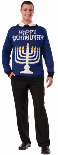 Happy Chanukah Hanukkah Ugly Christmas Sweater Jewish Holiday Menorah Adult Size