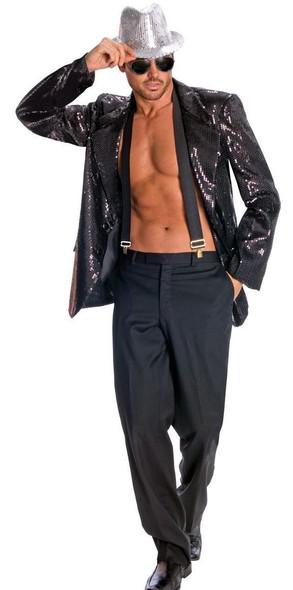 Men's Jazz Disco Black Sequin Jacket Pimp Costume Accessory Hip Hop Dancer Star