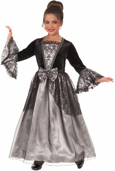 Lady Gothique Goth Vampiress Costume Fancy Dress Gown Black Hoop Girls Child