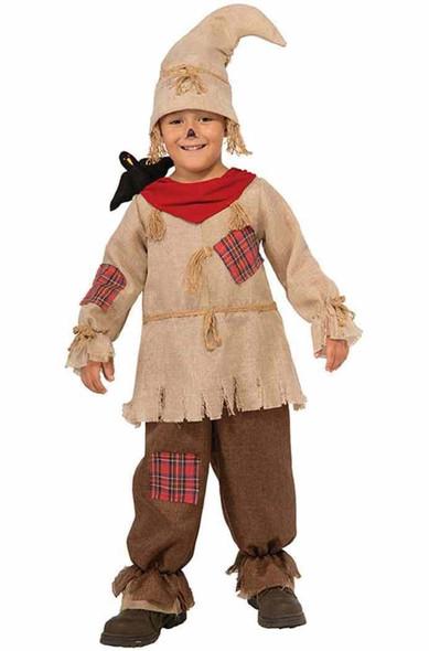 Cute Scarecrow Costume Child Boys Jumpsuit Stuffed Black Crow Hat Halloween