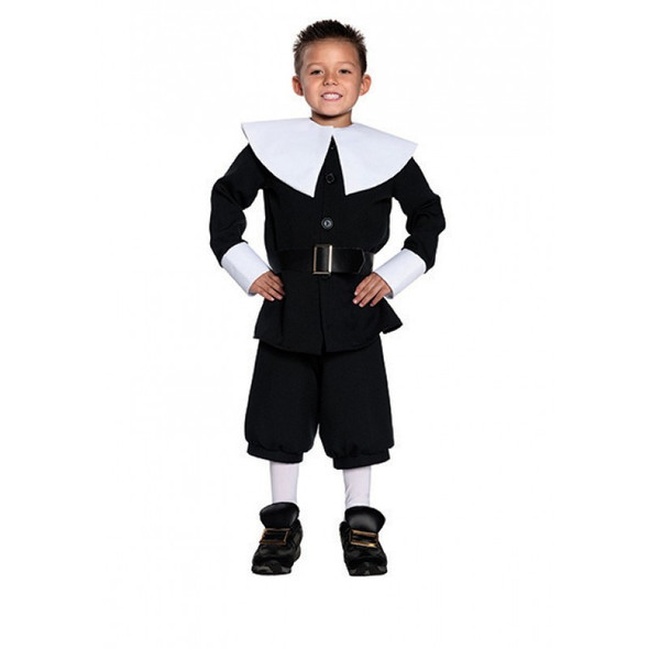 Pilgrim Boy's Costume Child Thanksgiving Top Pants Colonial Pioneer Black SM-XL