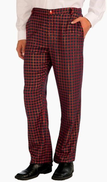 Adult Ugly Plaid Pants Men Christmas Red Green Glitter Gold Costume Parties Nerd