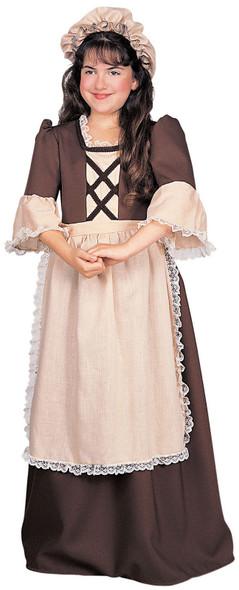Colonial Girl's Costume Brown Dress Child Thanksgiving Pilgrim Pioneer SM-LG