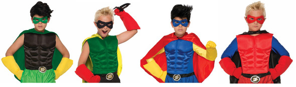 Boys Child Super Hero Muscle Chest Costume Shirt Halloween Cosplay One Size