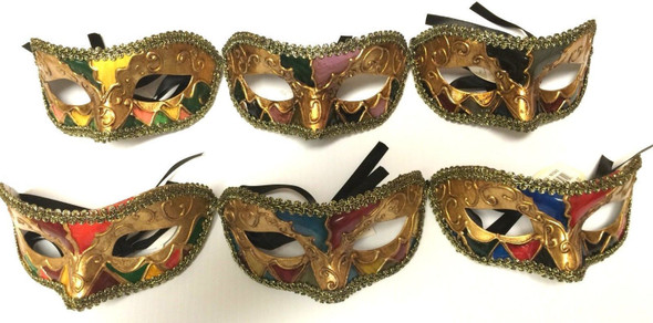 Half Eye Mask Argyle Mardi Gras Halloween Costume Accessory Adult Men Women