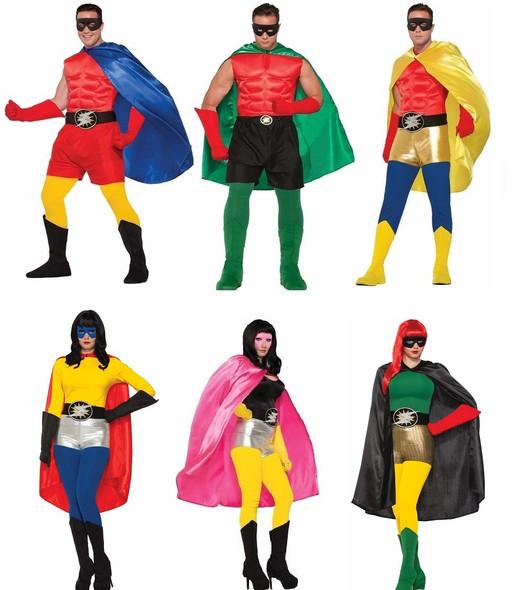 Adult Super Hero Costume Cape Men Women Halloween Villain Magician Phantom