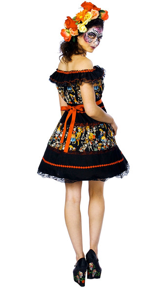 Fiesta of the Dead Costume Womens Fancy Dress Mexican Day Of The Dead  SM-XXL
