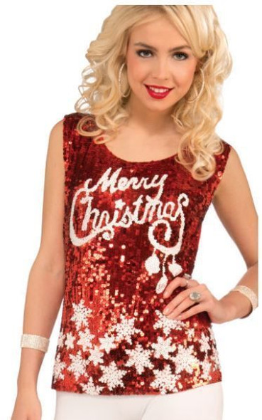 Hot Racy Red Merry Christmas Sequin Costume Fancy Short Top Disco Adult Women