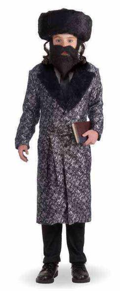 Jewish Rabbi Halloween Costume Coat Child Boys Religious Master Silver Black New