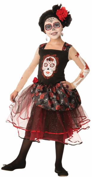 Day of The Dead Rosa Senorita Sugar Skull Child Girls Costume Dress SM-MD-LG