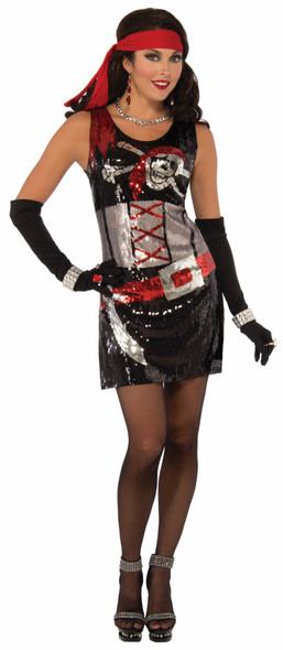 Sexy Pirate Buccaneer Halloween Costume Tank Dress Sequins Adult Women XS/S M/L