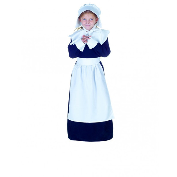 Pilgrim Girl's Costume Fancy Dress Child Thanksgiving Colonial Pioneer SM-XL