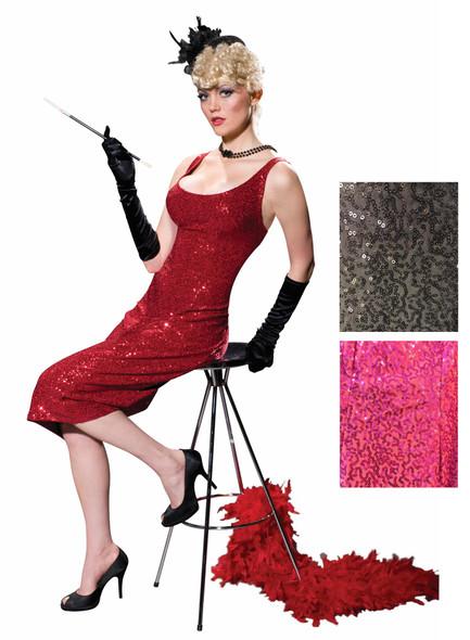 Women's Club Burlesque Glittery Gown Costume Fancy Dress G-String Lounge Singer