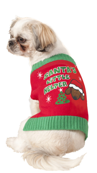 Santa's Little Helper Knitted Sweater Elf Pet Costume Dog Cat Christmas SM-MD