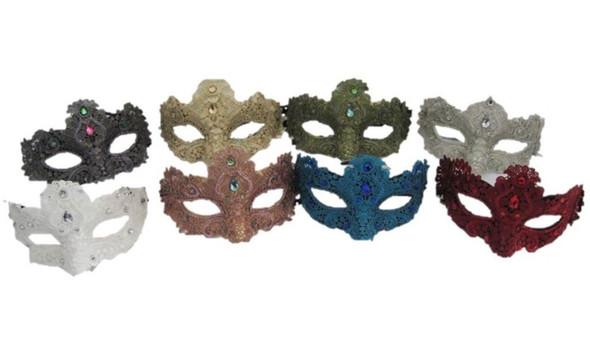 Venetian Lace Half Mask Gems Mardi Gras Women Costume Accessory Glitter Prom New