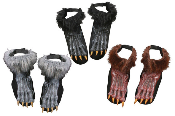 Werewolf Shoe Covers Wolf Halloween Adult Costume Accessory Brown Gray Black