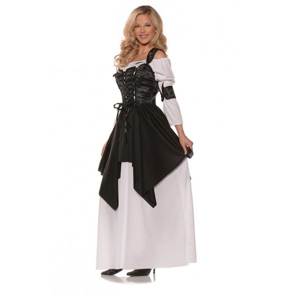 Sexy Pirate Queen Costume  Adult Women Buccaneer Fancy Dress Cincher Cuffs SM-XL