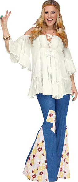 The Groovy 60's Peace Adult Women Hippie Bell Bottoms Costume Pants Denim Look