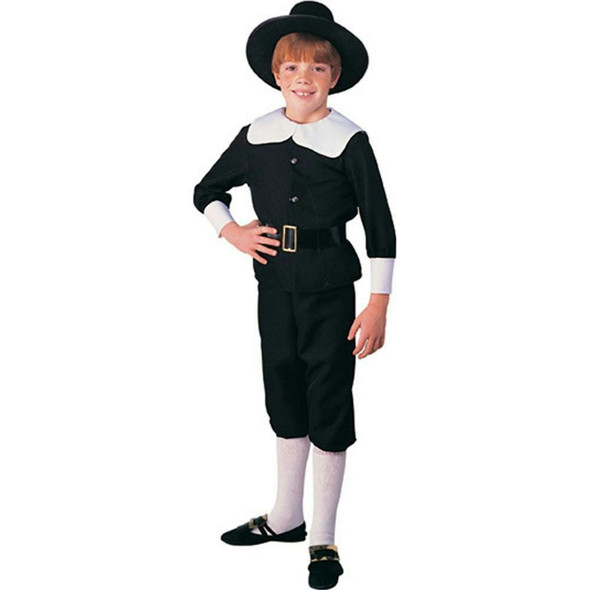 Pilgrim Boy Child Costume Black Puritan Thanksgiving Colonial Pioneer Amish New