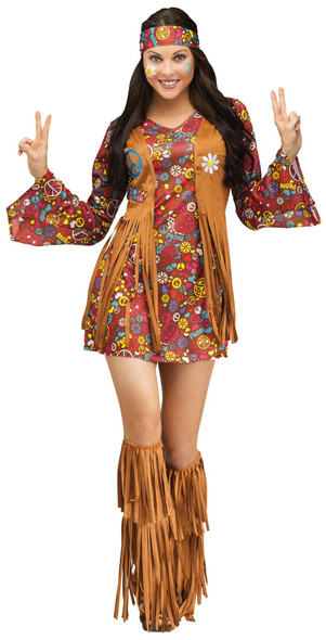 The Groovy 60's Adult Women Hippie Costume Peace & Love Flower Power