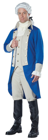 Men's Deluxe George Washington Costume President Colonial Man Blue Beige Adult
