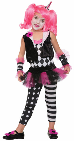 Lil Trixie The Clown Harlequin Fancy Dress Child Girls Black White Pink SM-MD-LG