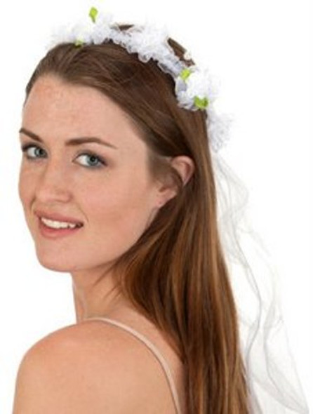 White Flowered Veil Wedding Bride Hippie Flower Girl Women's Costume Accessory
