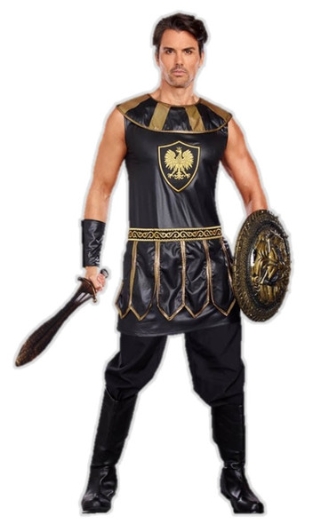 Deadly Warrior Men's Costume Tunic Adult Black Roman Greek Gladiator Md-XXL