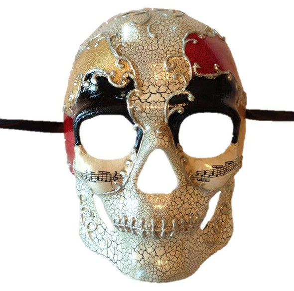 Day of the Dead Skeleton Skull Mask Red Gold Crackle Music Costume Accessory New