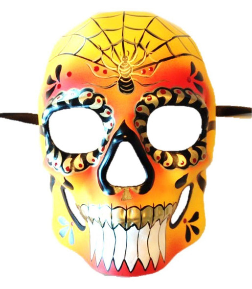 Day of The Dead Sugar Skull Mask Adult Colorful Halloween Accessory Spiderweb