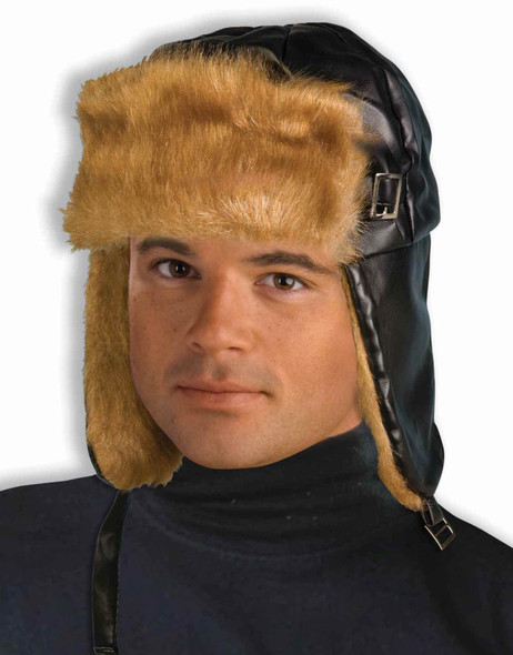 Brown Soft Vinyl Faux Fox Fur Aviator Hat Ear Flaps Adult Costume Accessory New