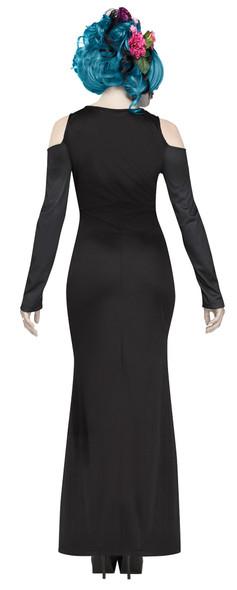 Beautiful Bones Costume Womens Day of the Dead Flowers Skeleton Black Dress