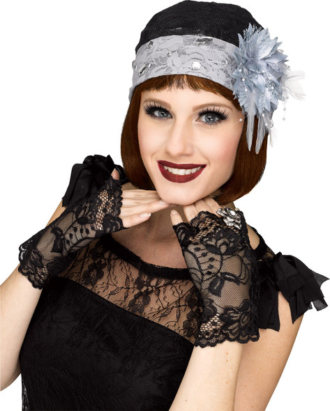 1920's Black Lace Flapper Cloche Hat & Mitts Gloves Womens Costume Accessory G