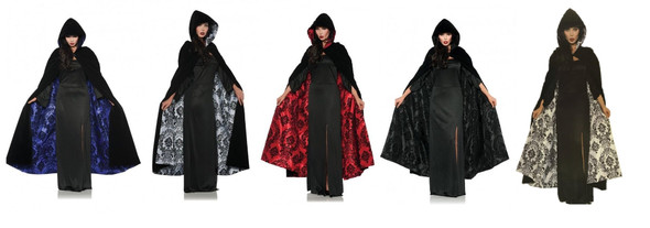 Deluxe Velvet & Satin Flocked Hooded Cape Adult Renaissance Cloak Medieval