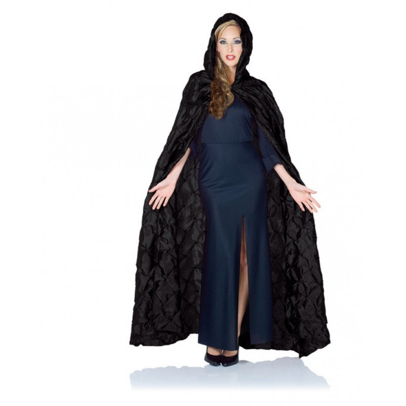 Pintuck Hooded Costume Cape Adult Halloween Medieval Gothic Vampire Coffin