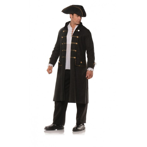 Pirate Coat Set Black Faux Leather Print Adult Mens Jacket Tricorn Hat Std-XXL