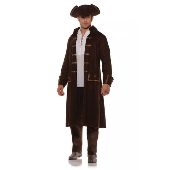 Pirate Coat Set Brown Faux Leather Print Adult Mens Jacket Tricorn Hat Std-XXL