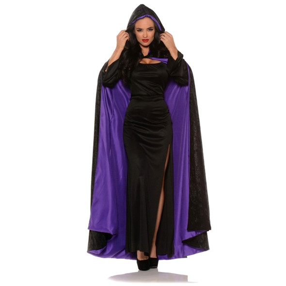 Hooded Black Velvet Cape Red or Purple Lining Adult Medieval Costume Accessory