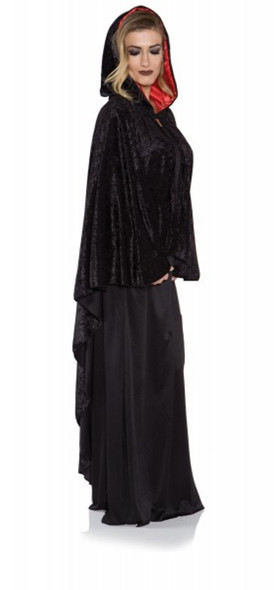 Black Velvet Cascade Cape Red Hooded Satin Lining Women's Costume Accessory New